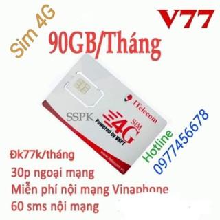 SIM 4G VINAPHONE & I TELECOM V77 CÓ 90GB/ THÁNG ( 🆓 3GB HÀNG NGÀY) GỌI 🆓 VINAPHONE