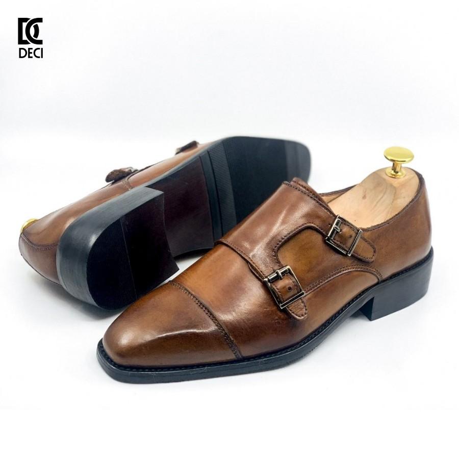 Giày tây công sở DECI da bò đế Monk strap Brogue 9