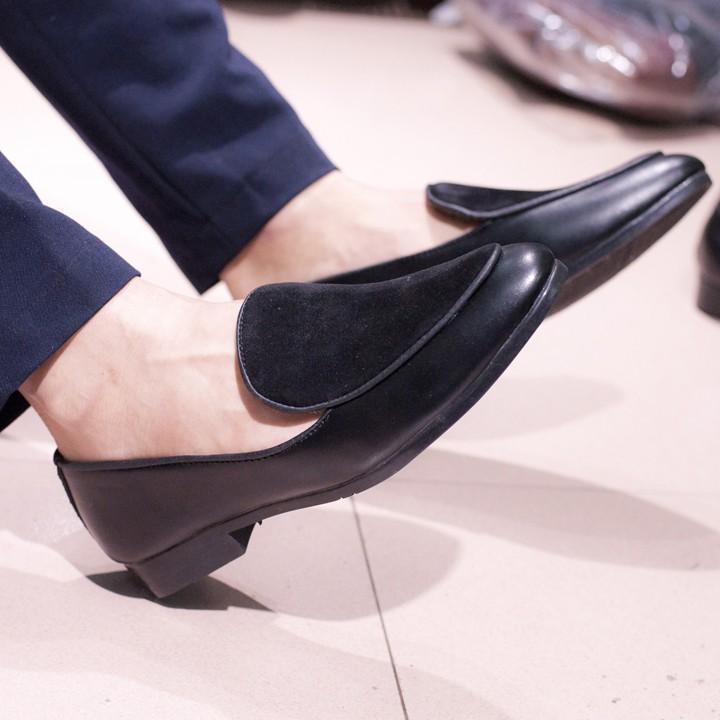Giày Lười Nam Đẹp Đế Khâu Viền Da Trơn Mặt Giày Da Búc Màu Đen Rất Sang Trọng - M430(ĐG)- Kèm Đón Gót Sừng