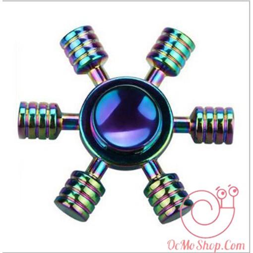 Con quay Finger Spinner bánh lái 6 cánh phản quang kim loại