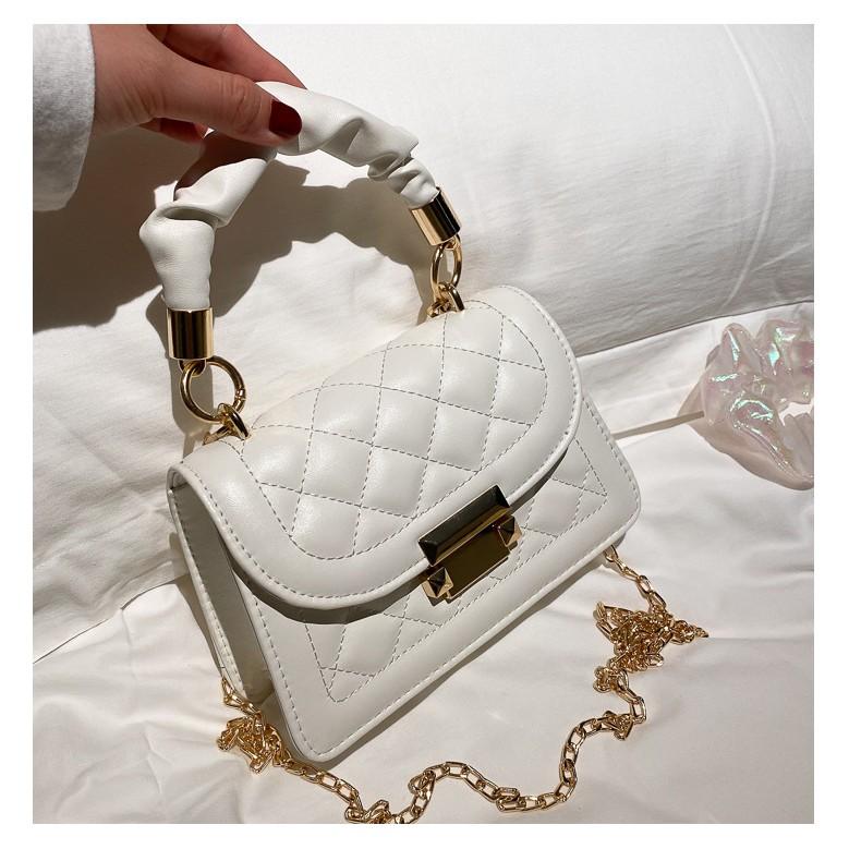 Túi đeo chéo nữ TN820, túi xách thời trang da PU trần trám nổi, quai xách bèo nhúm cách điệu sang trọng