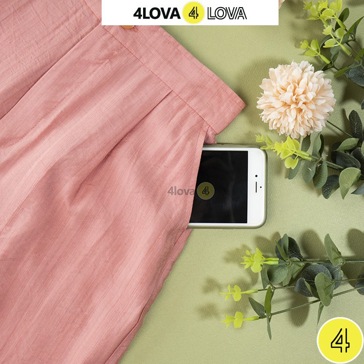 Quần suông nữ ống rộng 4LOVA chất liệu vải đũi xước cao cấp thoáng mát