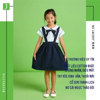 Áo sơ mi đồng phục học sinh tay bèo nữ xinh- đẹp - rẻ , áo đi học bé gái cấp 1 , cấp 2 Jadiny DPG007