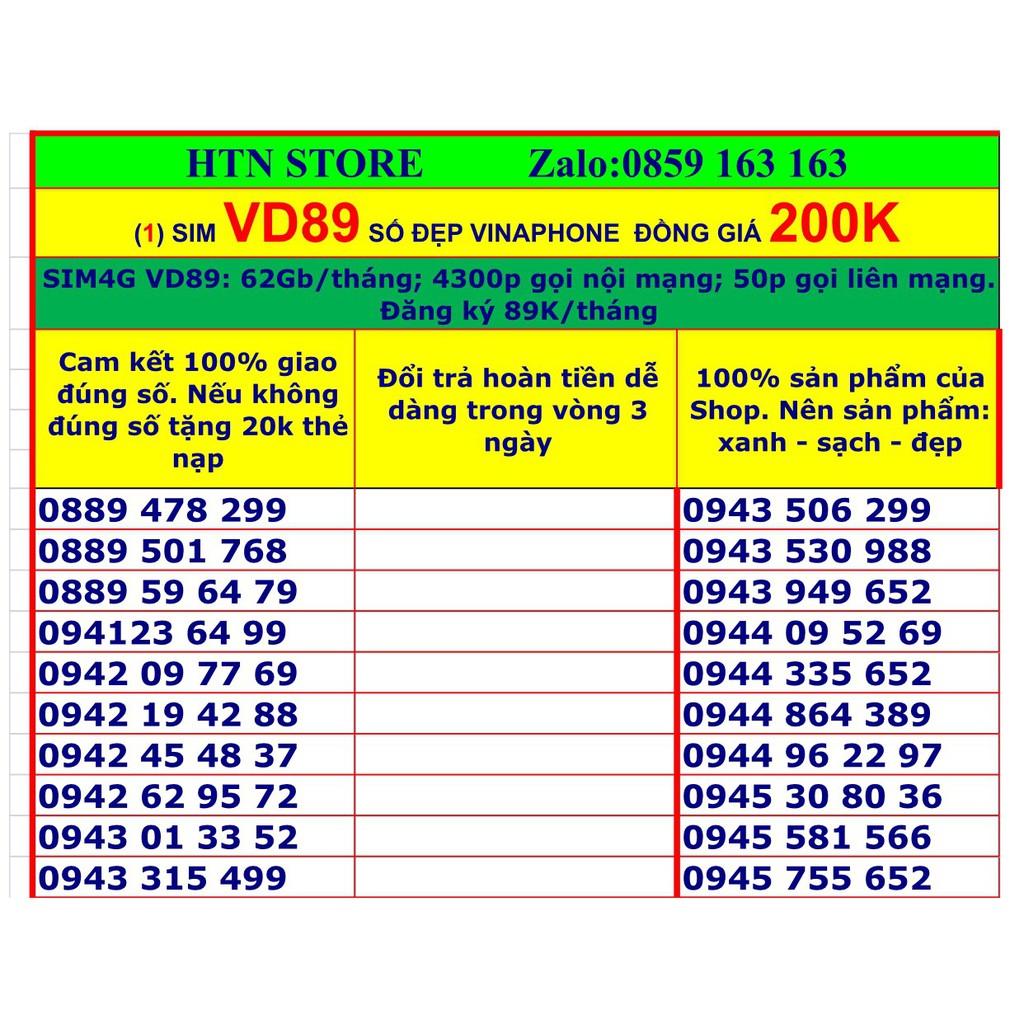 Sim 4g vinaphone VD89 số đẹp giá rẻ đồng giá 200k (1) tặng 62GB data, miễn phí gọi nội mạng, 50p ngoại mạng