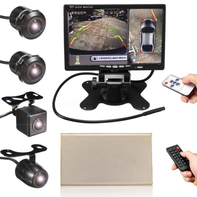 "360° 4 Cams 7"" HD Monitor Car DVR Recording Panoramic Bird View Parking System"