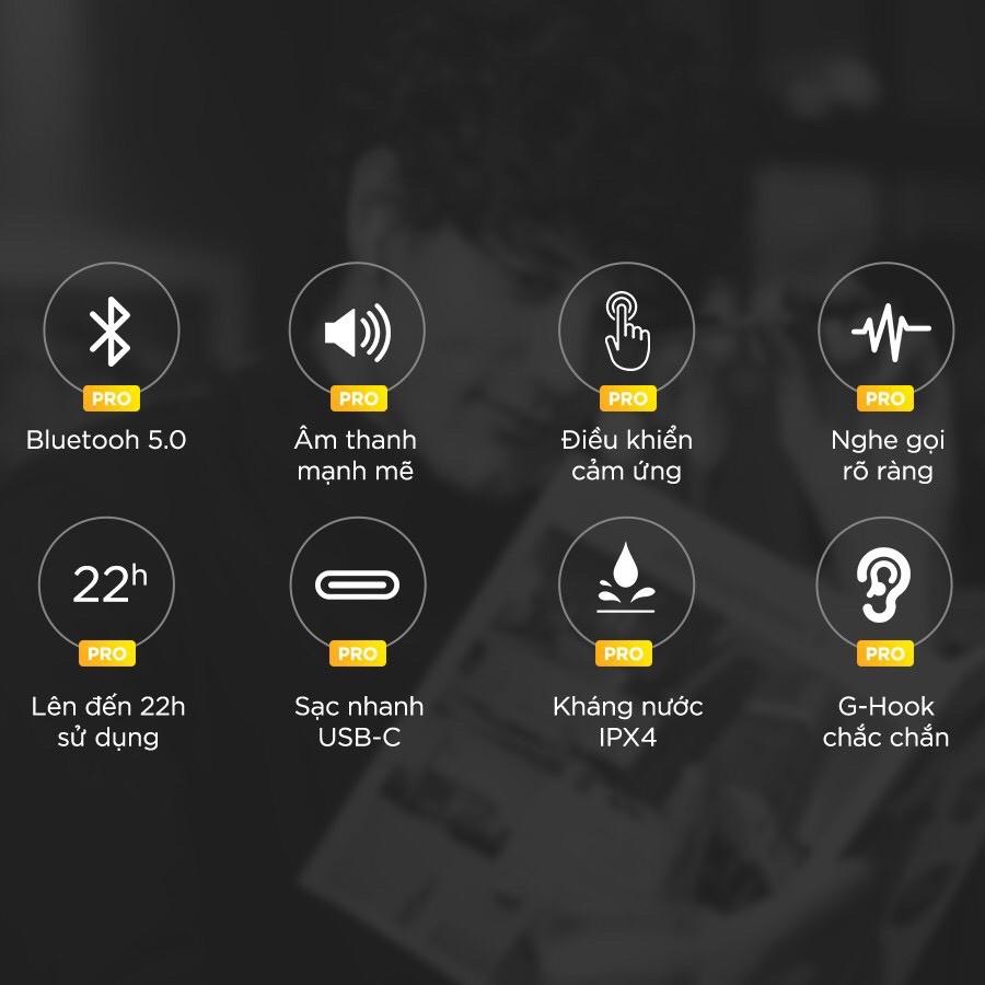 Tai Nghe True Wireless Defunc True Go Slim Bluetooth v5.0, Cảm Ứng, Kháng Nước IPX4, Pin Lên Đến 22H - Hàng Chính Hãng