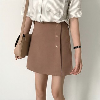 Summer new Korean version of the high waist wild A word skirt five-pointed star