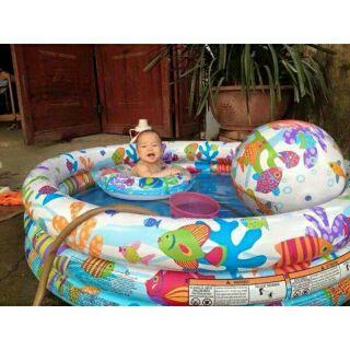 Bể bơi 3 tầng tặng kèm phao bơi và bóng lớn cho bé