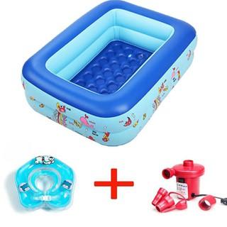 combo bể bơi 3 tầng 1,3m đáy chống trượt và bơm điện 2 chiều + phao