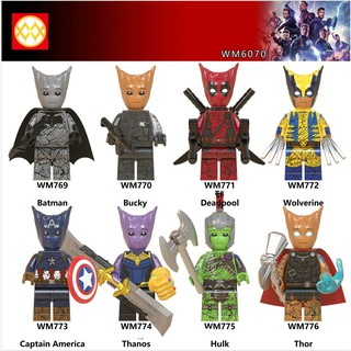 Lego Minifigures Các Mẫu Nhân Vật Thano Thor Captian Hulk Batman Mẫu Siêu Độc Đáo WM6070