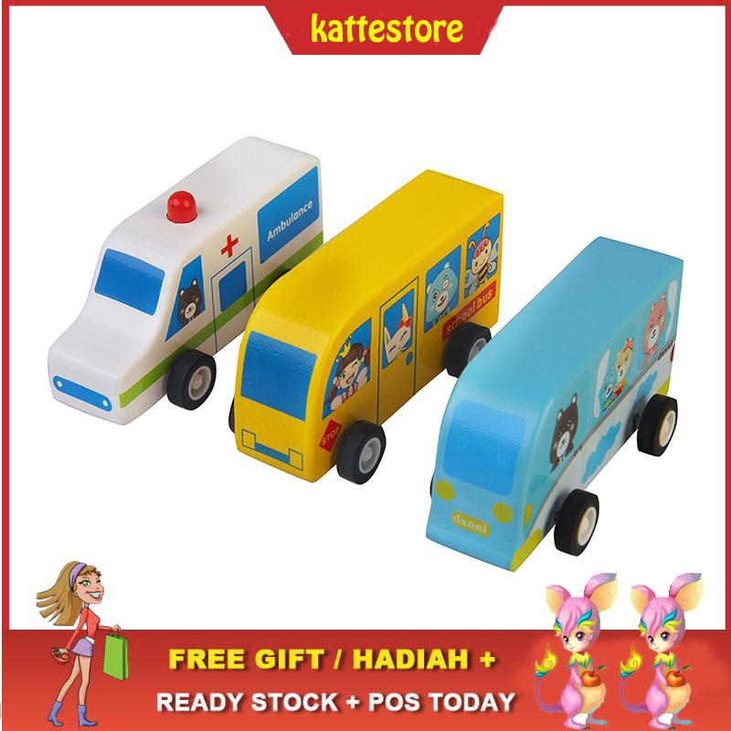 READY STOCK😱Wood Cartoon Ambulance Toys Vehicles Kid School Bus Car Gift