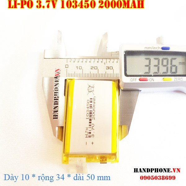 Pin Li-Po 3.7V 103450 103550 2000mAh (Lithium Polyme) cho điện thoại, Bộ đàm, Định vị GPS, Camera hành trình,cân điện tử