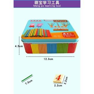 Bộ que tính hộp sắt giúp bé học toán