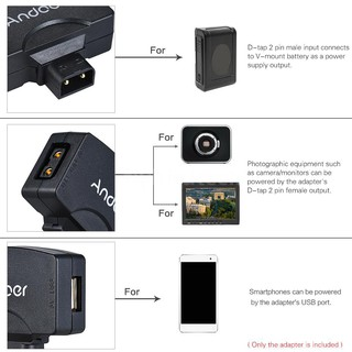 Andoer D-Tap to 5V USB Adapter Connector for V-Mount Camcorder Camera Battery for BMCC for iPhone 7/6/6plus for Samsung