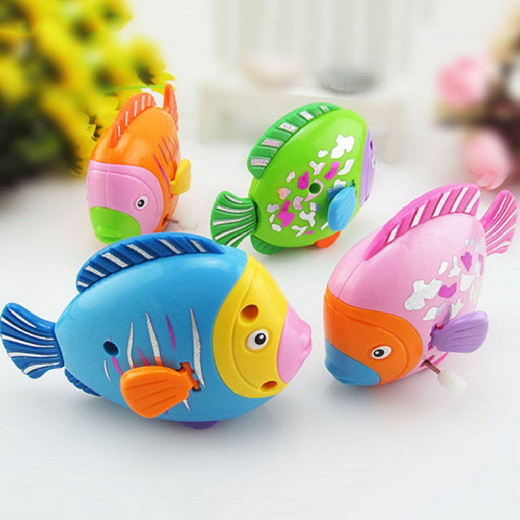Newborn Plastic Clockwork Toy Cute Colorful Fish Moving Tails Fish Wind Up Toy