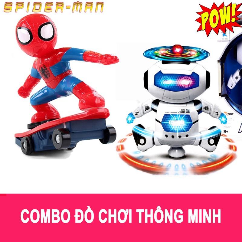Combo đồ chơi: Người nhện lướt ván - Robot xoay 360 phát nhạc - 3322731 , 1183423097 , 322_1183423097 , 270000 , Combo-do-choi-Nguoi-nhen-luot-van-Robot-xoay-360-phat-nhac-322_1183423097 , shopee.vn , Combo đồ chơi: Người nhện lướt ván - Robot xoay 360 phát nhạc