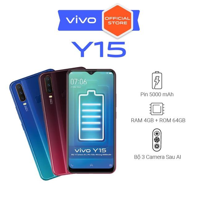 [ Nhập VIVO08 giảm 50K] Điện thoại Vivo Y15 4Gb + 64Gb - Hàng Chính Hãng