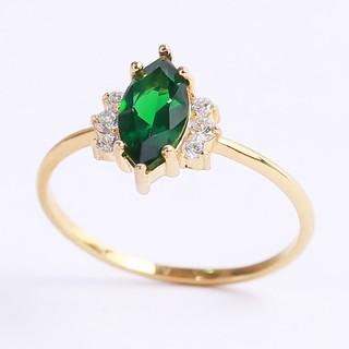 Nhẫn bạc nữ đẹp mạ vàng đá Cz xanh hạt dưa Gix Jewel SPGN01 thumbnail