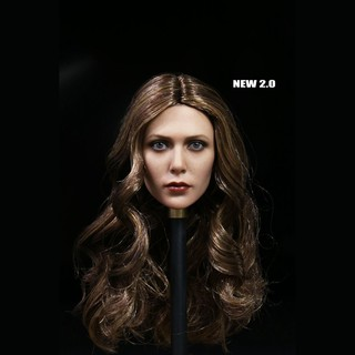 1:6 Scale Avengers Elizabeth Olsen Model Scarlet Witch Head Sculpt W Long Curls