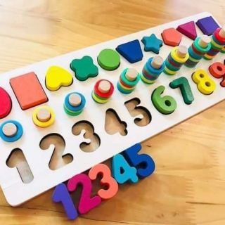 Bộ cọc số đếm Montessori 3in1