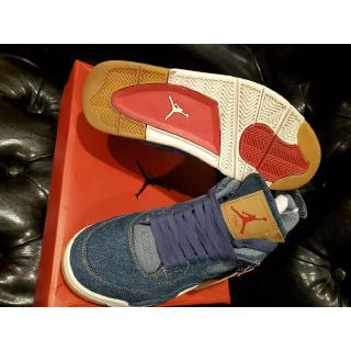 [Với hộp] 100% Giày bóng rổ Nike air jordan 4 x levis Denim Blue chính hãng