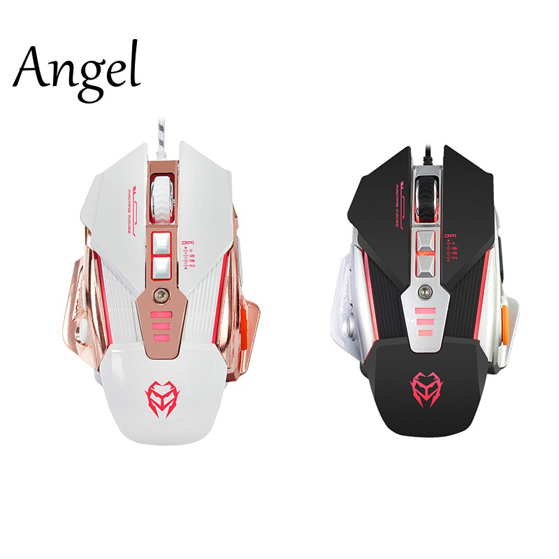 Wired 8 Buttons Usb Computer Game Mice For Pc Laptop Desktop White CV
