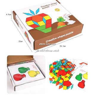 Bộ Pattern Block đa năng gỗ đẹp – Creactive puzzle 208pcs – kèm thẻ chơi