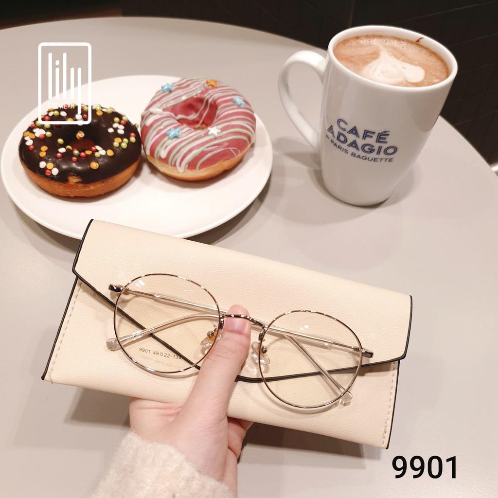 Gọng kính cận kim loại mắt tròn thời trang nữ 9901 Lilyeyewear nhiều màu