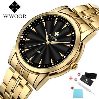 WWOOR Men's Watches Waterproof Fashion Sport Stainless Steel Metal Quartz Watch Genuine Clock - 8028