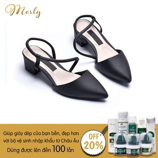 Giày sandal gót thấp họa tiết Merly 1047