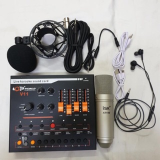 Combo mic livestream AT-100, soundcard V11 tặng kèm tai nghe AKG - BH 6 tháng đổi mới thumbnail