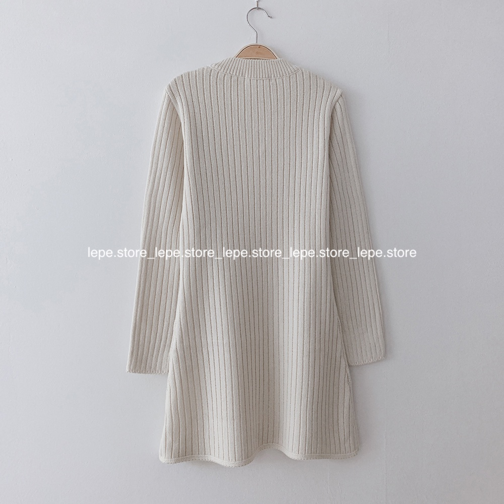 Mặc gì đẹp: Tinh tế với [ORDER] Váy len ngắn body polo nữ, len thừng xoắn phong cách basic tối giản trơn