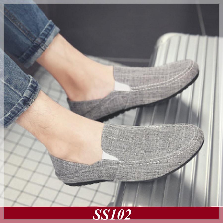 Giày Lười Vải Nam Hàn Quốc Màu Xám Đậm (SS102)