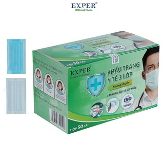 Khẩu trang y tế Exper 3 lớp hộp 50 cái. Khẩu trang y tế áp dụng công nghệ Nhật cao cấp không đau tai thumbnail