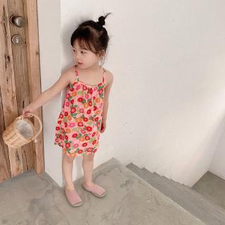 Đầm dây in họa tiết phong cách Châu Âu dễ thương cho bé gái