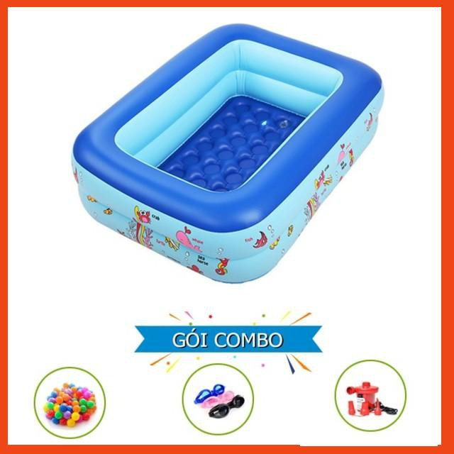 [ SALE ] Bể phao bơm hơi cho bé 2 tầng 1m2 kèm 100 bóng kính bơi bơm điện