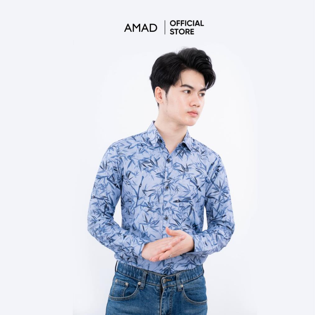 Mặc gì đẹp: Xinh xinh với Áo sơ mi nam dài tay họa tiết vải lụa Hàn Quốc cao cấp phong cách thanh lịch đi chơi đi dự tiệc AMAD