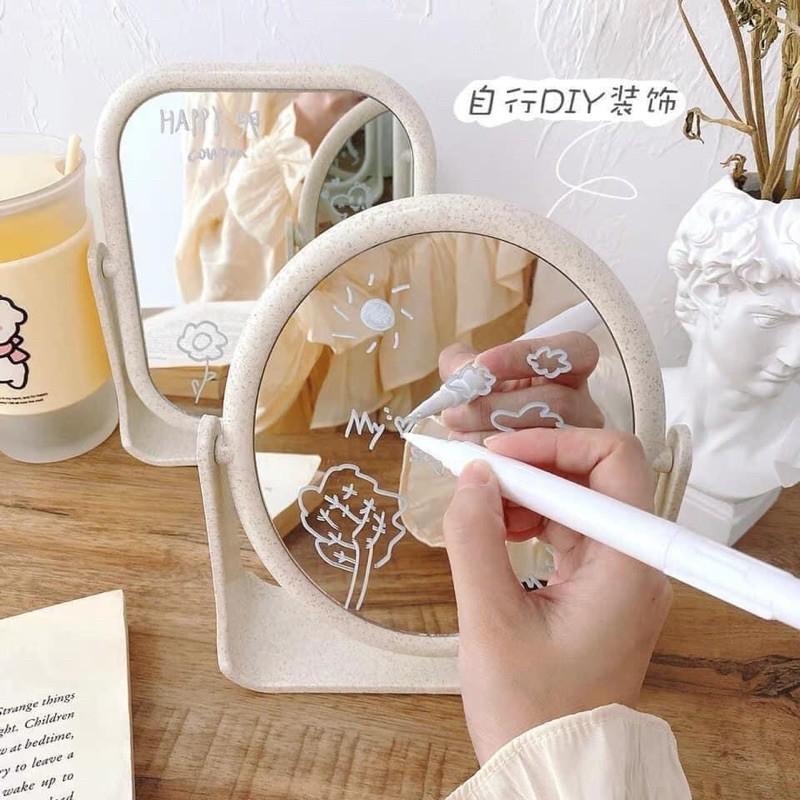 Gương nhựa mini để Bàn trang điểm siêu cute