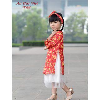 Sét áo dài cho bé gái chất gấm mềm cao cấp
