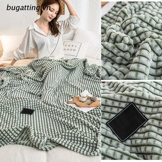 b.vn Solid Color Plaid Velvet Throw Blanket Soft Cozy Flannel Plush Warm Bed Cover
