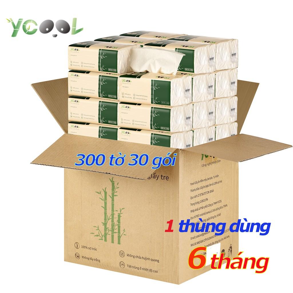 Giấy ăn gấu trúc khăn giấy tre YCOOL 1 thùng 30 gói 300 tờ