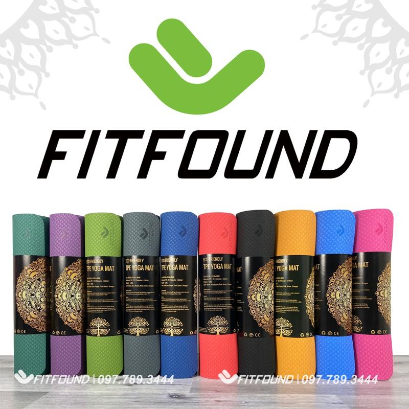 Thảm tập Yoga gym Thể Dục Fitfound 8mm Tpe Cao cấp in định tuyến Fitfound chống trơn trượt có dây buộc