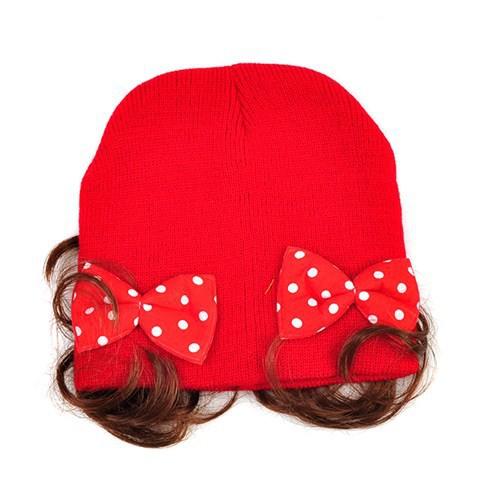 Mũ len kèm tóc giả có 2 chiếc nơ điệu đà đáng yêu cho bé