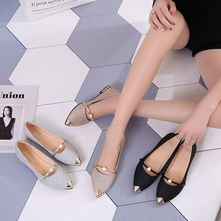 Giày búp bê mũi nhọn đính kim sa lấp lánh cho nữ