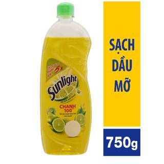 [Mã HC1105 - 10% đơn 150K] Nước rửa chén Sunlight chai 750g hương CHANH