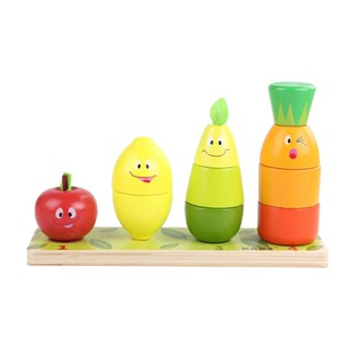 Wooden Fruit Puzzles Toys , Shape Color Sorter Block Puzzle for Baby