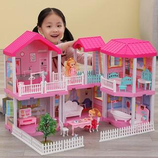 Nhà búp bê cỡ lớn cho bé - Đồ Chơi Lắp Ghép Ngôi Nhà Biệt Thự Búp Bê Xinh Xắn Cho Bé Gái thumbnail