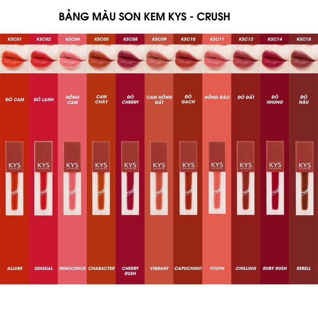 Son Kem Lì Lâu Trôi Mịn Môi Đỏ Nâu Chocolate Crush KYS Không Chì 3.5g |  Shopee Việt Nam