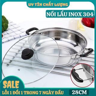 Nồi lẩu nắp kính 28cm [HÀNG HIỆU] dùng cho bếp từ và bếp hồng ngoại