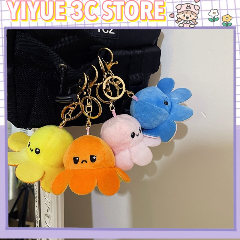 Flip Plush Toys Octopus Doll Pendant Double-Sided Reversible Stuffed Doll Halloween Decoration Gifts